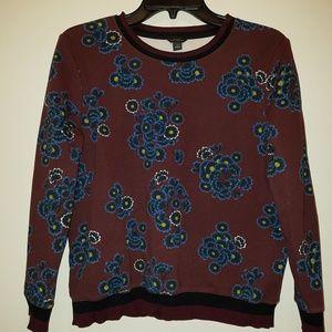 Ann Taylor Burgundy Sweatshirt with Blue Florals